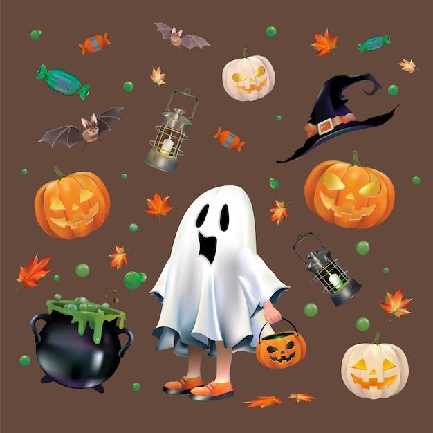Halloween-vektor-set Kostenlosen Vektoren