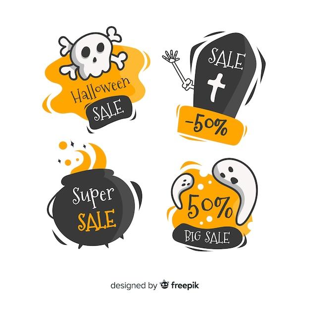 Halloween-verkauf abzeichen sammlung Kostenlosen Vektoren