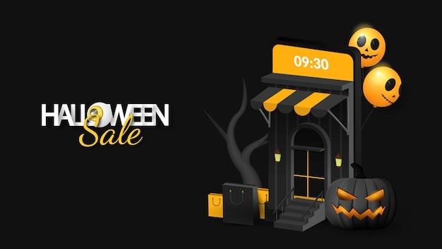 Halloween-verkauf auf handy-banner Premium Vektoren