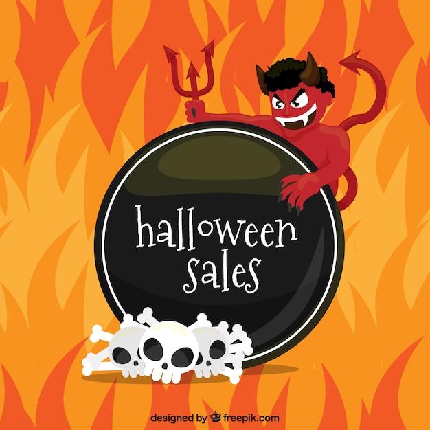 Halloween verkauf hintergrund mit dämon und flammen Kostenlosen Vektoren