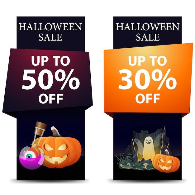 Halloween-verkauf, vertikale schwarze fahne des rabattes mit kürbis jack Premium Vektoren