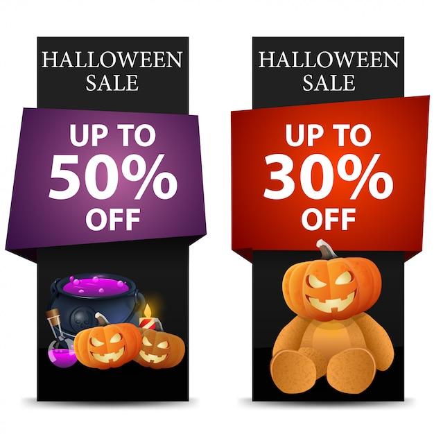 Halloween-verkauf, vertikale schwarze fahne des rabattes Premium Vektoren