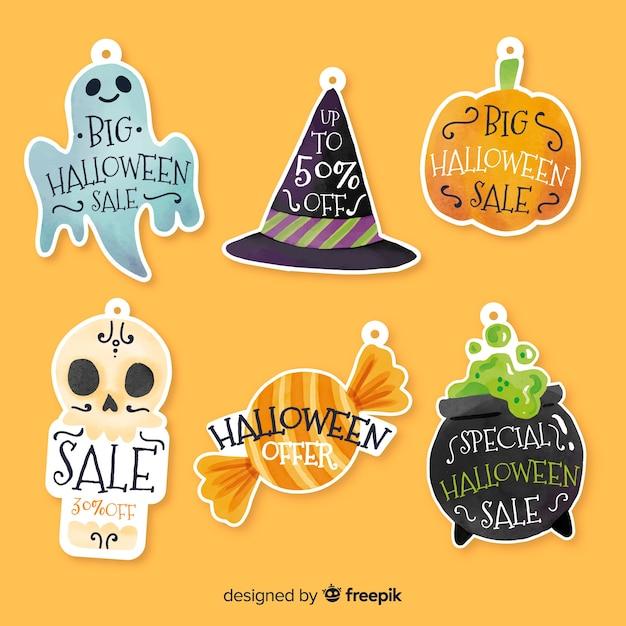 Halloween-verkaufsaufkleberabzeichensammlung Kostenlosen Vektoren