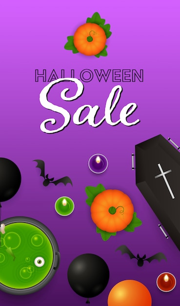 Halloween-verkaufsbeschriftung mit ballonen, kürbisen und trank Kostenlosen Vektoren