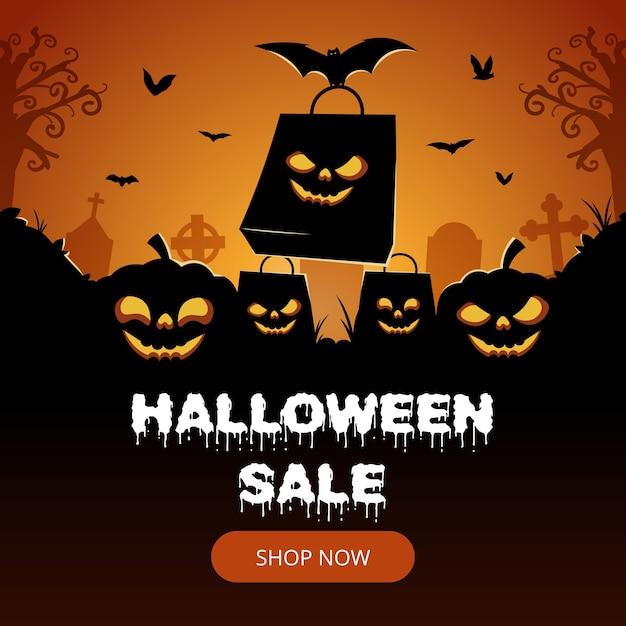 Halloween-verkaufsfahne mit fledermaus- und kürbissilhouette Premium Vektoren