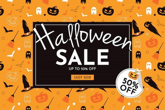 Halloween-verkaufsfahne mit kürbis, hexenhut, besen, geist und schläger Premium Vektoren