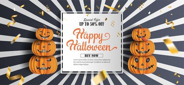 Halloween-verkaufsförderungsfahne mit rabattangebot zu besonderem anlass. Premium Vektoren