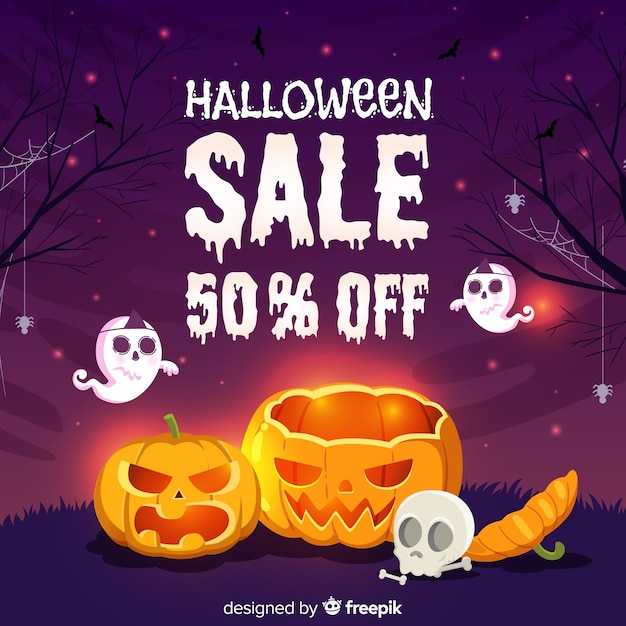 Halloween-verkaufshand gezeichnet Kostenlosen Vektoren