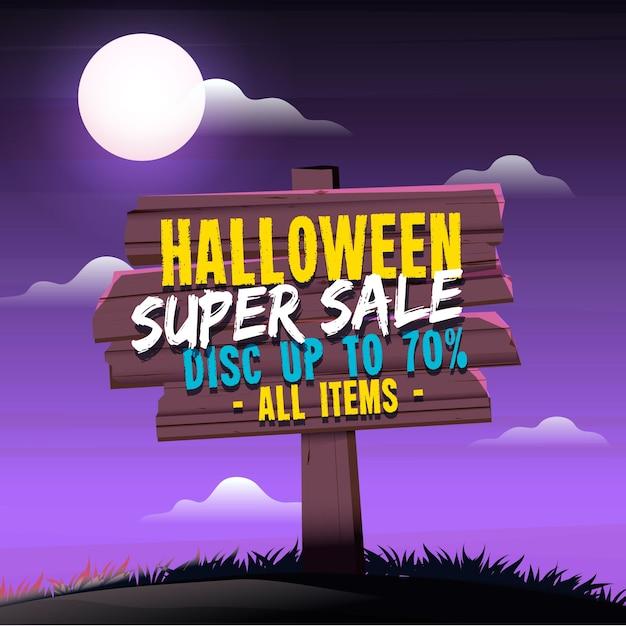 Halloween-verkaufshintergrund mit holzschild Kostenlosen Vektoren
