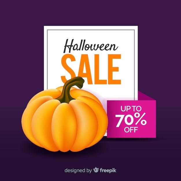 Halloween-verkaufshintergrund mit kürbis Kostenlosen Vektoren