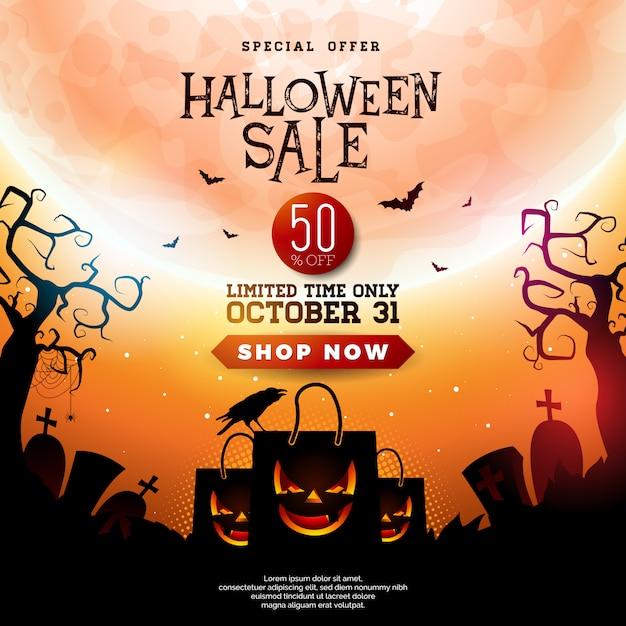 Halloween-verkaufsillustration mit furchtsamer gegenübergestellter einkaufstasche Premium Vektoren