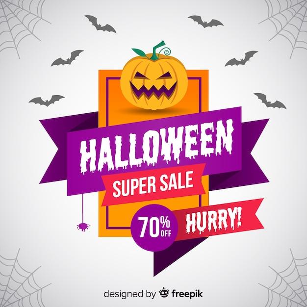 Halloween-verkaufszusammensetzung mit flachem design Kostenlosen Vektoren