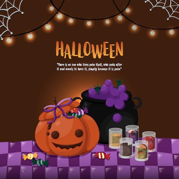 Halloween-vorlage. halloween-thema des kürbises und des giftigen topfes auf dem tisch. Premium Vektoren