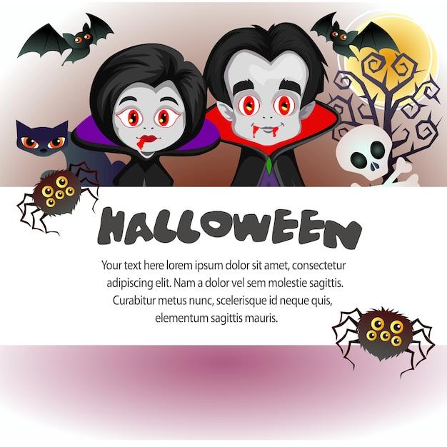 Halloween Vorlage Vampir Dracula Paar | Download der Premium Vektor