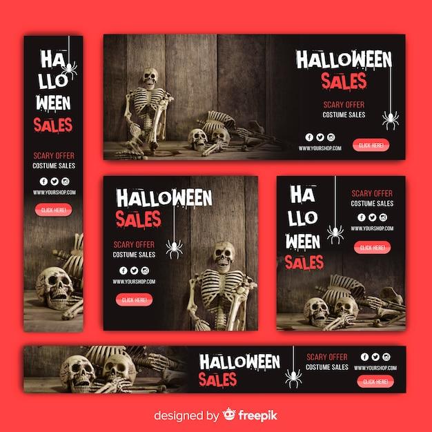 Halloween web verkauf banner sammlung Kostenlosen Vektoren