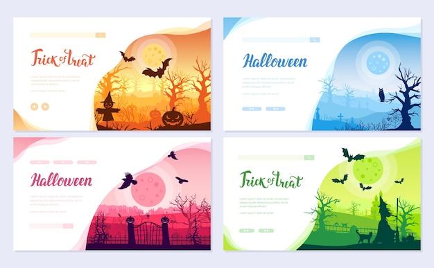 Halloween-zeitbroschüren-kartensatz. landschaftsvorlage von flyear, web-banner, ui-header, website eingeben. Premium Vektoren
