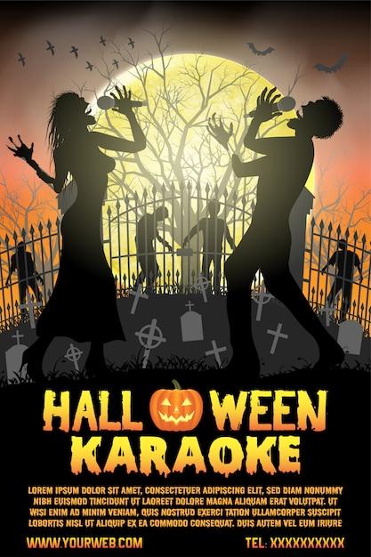 Halloween-zombie, der karaokemusik am kirchhofflieger und -plakat singt Premium Vektoren
