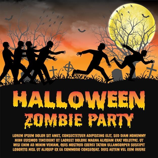 Halloween zombie-party mit zombies entkommen Premium Vektoren