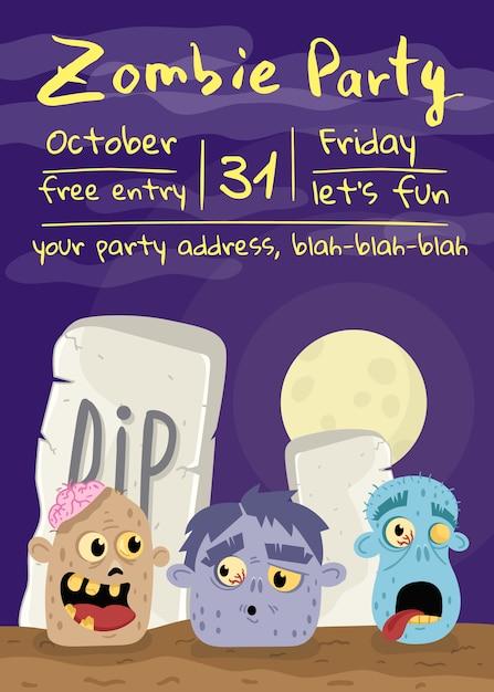 Halloween-zombie-partyplakat mit monsterköpfen Premium Vektoren