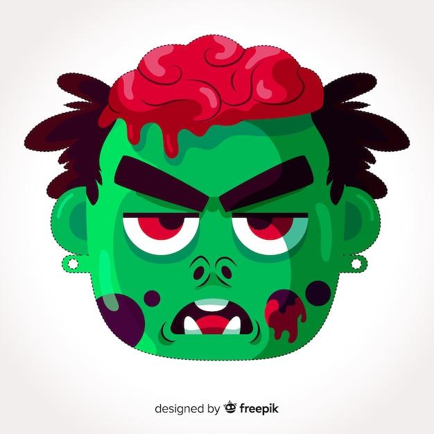 Halloween-zombiemaske im flachen design Kostenlosen Vektoren