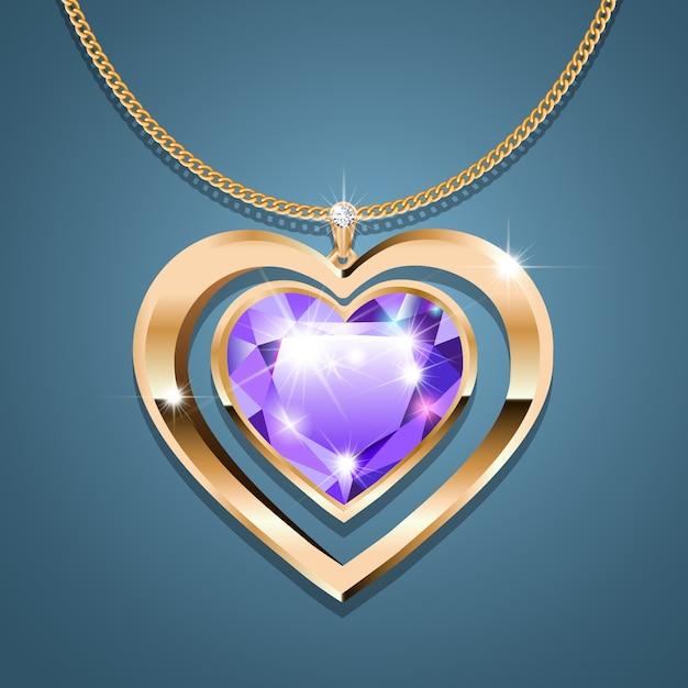 Halskette mit einem lila steinherzen an einer goldenen kette Premium Vektoren