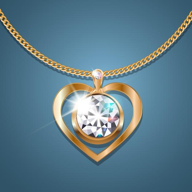 Halskettenherz mit einem funkelnden diamanten an einer goldkette Premium Vektoren