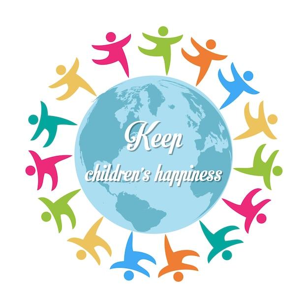 Halten kinder glück gruppe von kindern auf der ganzen welt Kostenlosen Vektoren