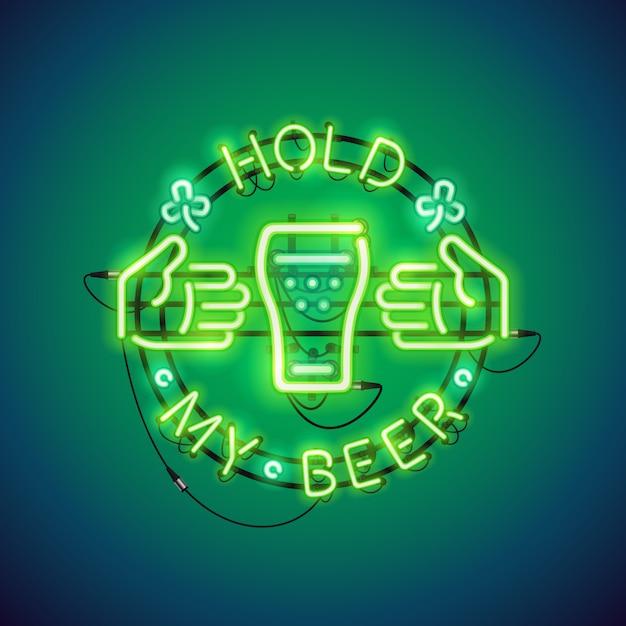 Halten sie mein bier neon sign green Premium Vektoren