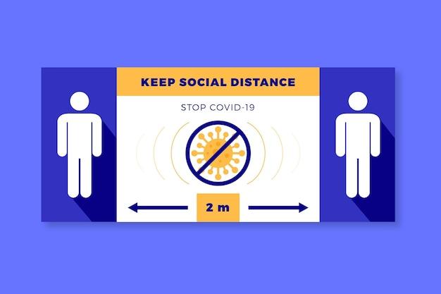 Halten sie soziale distanz banner zeichen Kostenlosen Vektoren