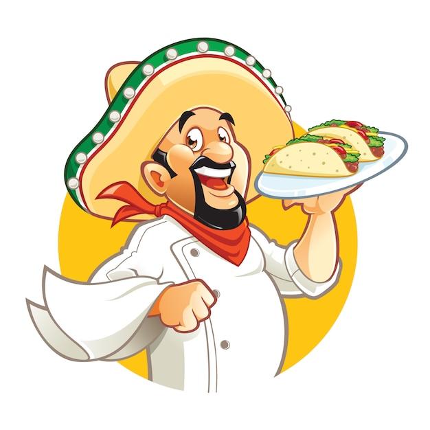 Halteplatte der mexikanischen chefzeichentrickfilm-figur mit tacos Premium Vektoren