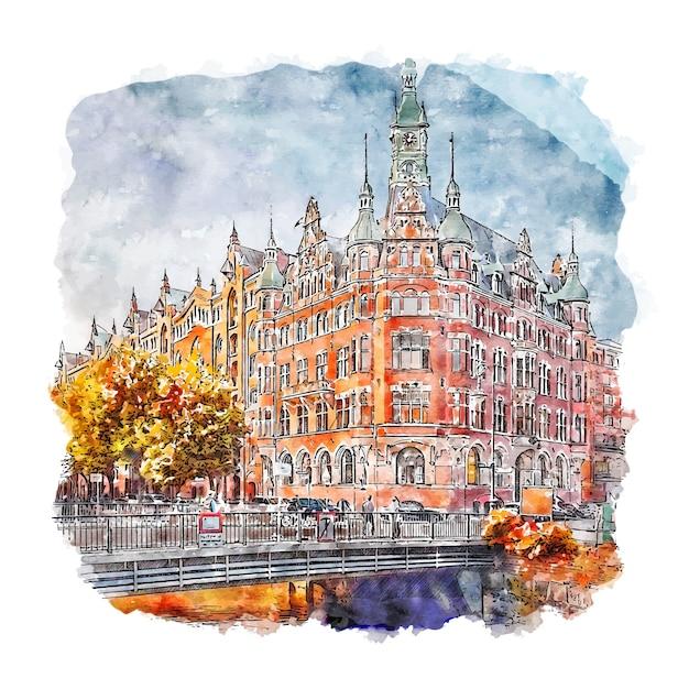 Hamburger deutschland aquarell skizze hand gezeichnete illustration Premium Vektoren