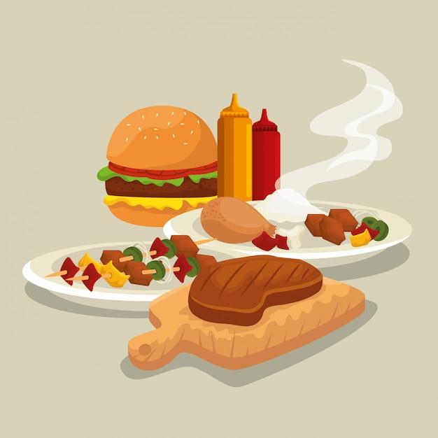Hamburger mit oberschenkel und fleisch Kostenlosen Vektoren
