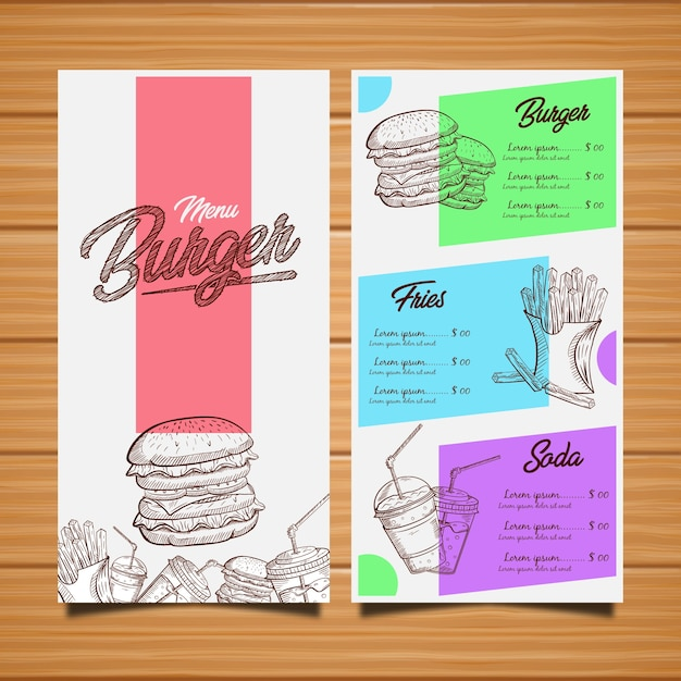 Hamburger restaurant menü Premium Vektoren