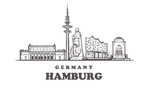 Hamburger stadtbild, deutschland Premium Vektoren