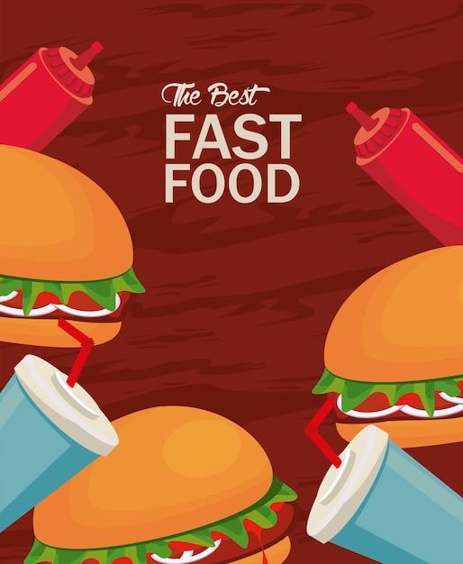 Hamburger und soda mit ketchup köstliche fast-food-ikone illustration Premium Vektoren