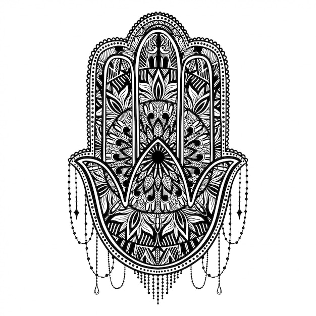 Hamsa-talisman-religion asiat. Premium Vektoren