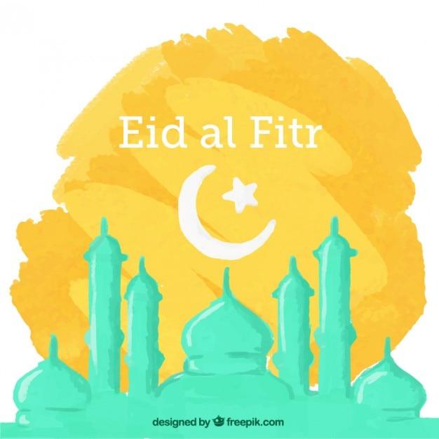 Hand bemalt eid al Fitr Hintergrund mit Moschee Kostenlose Vektoren