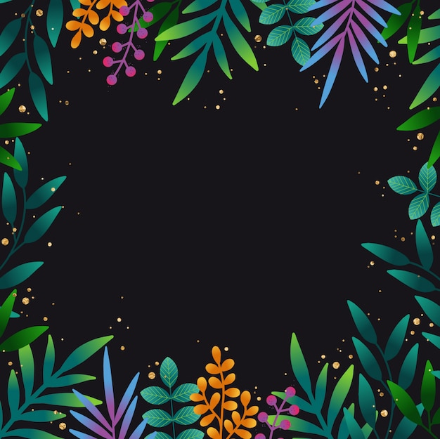 Hand dawn tropical leaves background Premium Vektoren