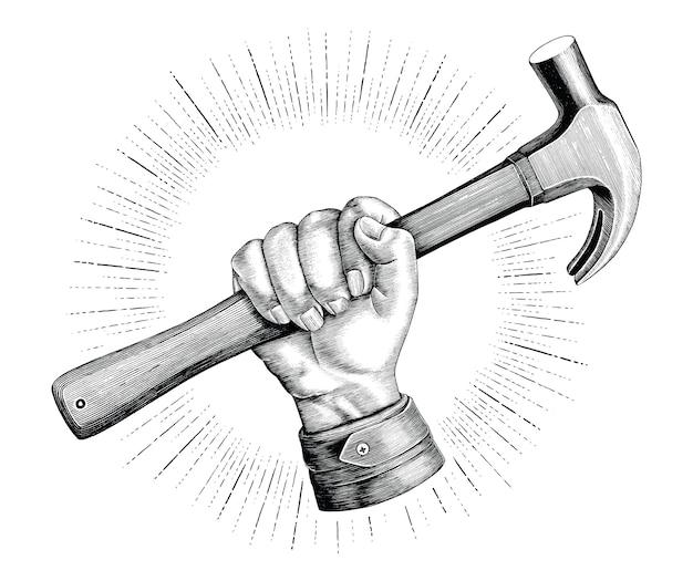 Hand, der hammerillustrationsweinlese für zimmermannslogo lokalisiert auf weißem hintergrund hält Premium Vektoren