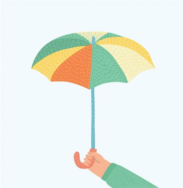 Hand des mannes, der einen regenschirm hält. illustration. regenschirmikone. Premium Vektoren