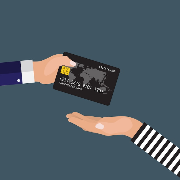 Hand des opfers dem räuber eine kreditkarte gebend. Premium Vektoren