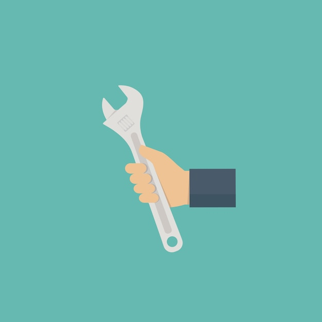 Hand des technikers mit einem schlüssel Premium Vektoren