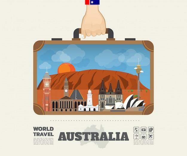 Hand, die australien-markstein-globale reise und reise infographic-tasche trägt. Premium Vektoren