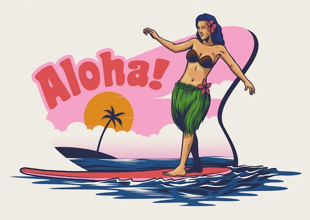 Hand, die das hawaiische mädchensurfen zeichnet Premium Vektoren