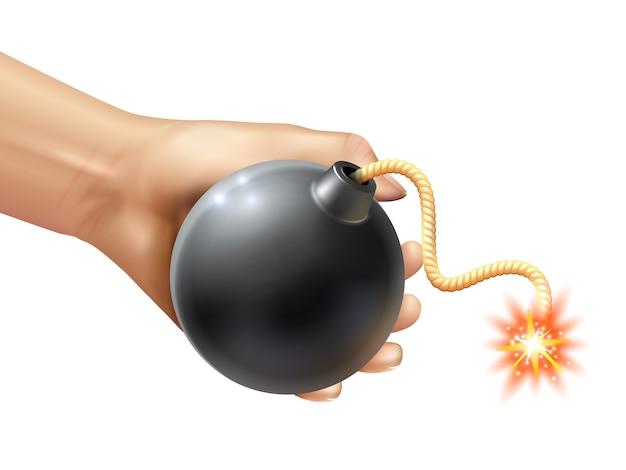 Hand, die eine bomben-illustration hält Kostenlosen Vektoren