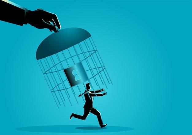 Hand, die einen laufenden geschäftsmann mit vogelkäfig einfängt Premium Vektoren