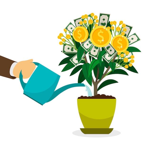 Hand, die geldbaum im blumentopf wässert Premium Vektoren