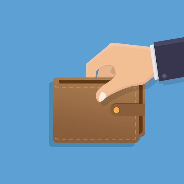 Hand, die geldbörsenillustration hält Premium Vektoren
