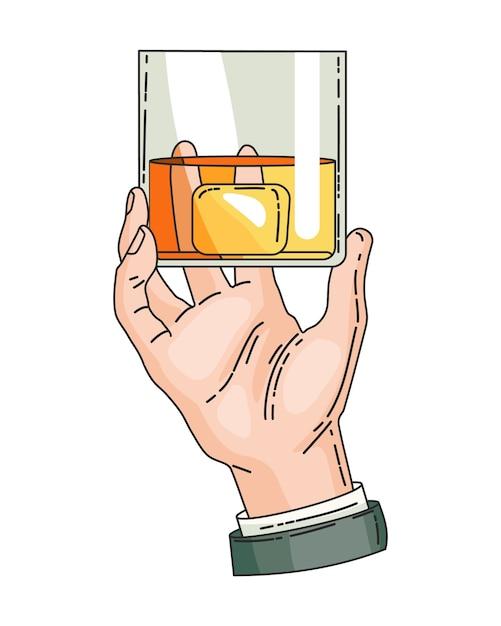 Hand, die glas mit starkem getränkewhisky hält Premium Vektoren