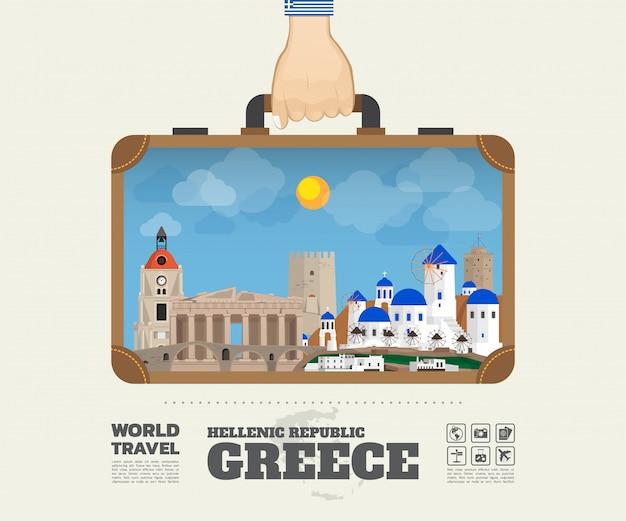 Hand, die griechenland-markstein-globale reise und reise infographic-tasche trägt. Premium Vektoren